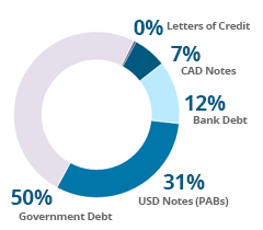 North America debt pie chart