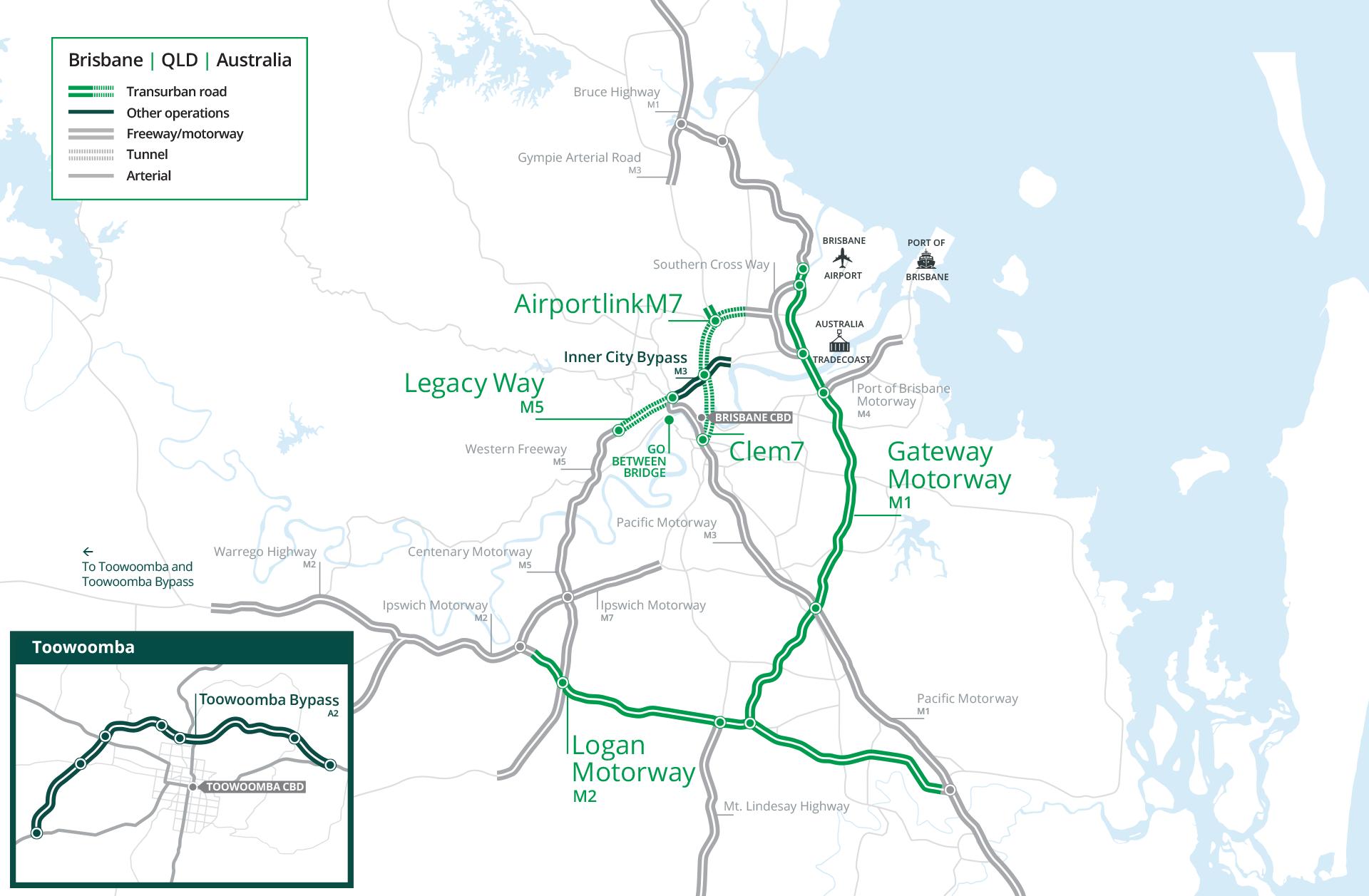 Australia Map Qld.Brisbane Transurban Group